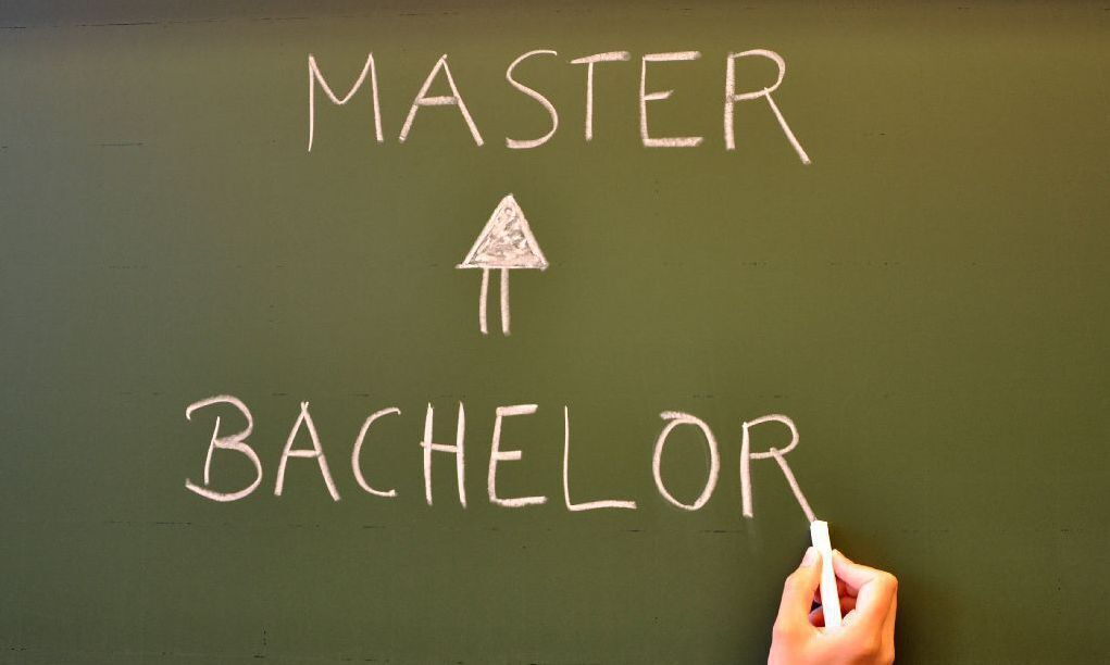 Bachelor and Master written on a chalkboard