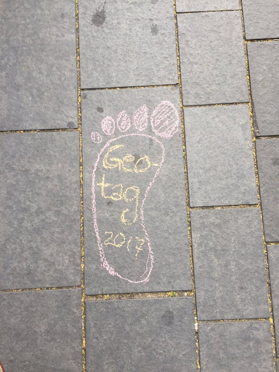 Chalk foot on pavement